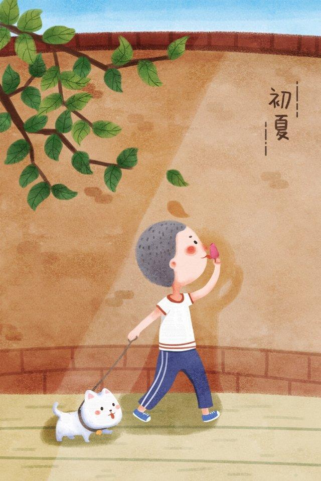 初夏のイラストウォーキング犬の散歩 イラスト素材 イラスト画像