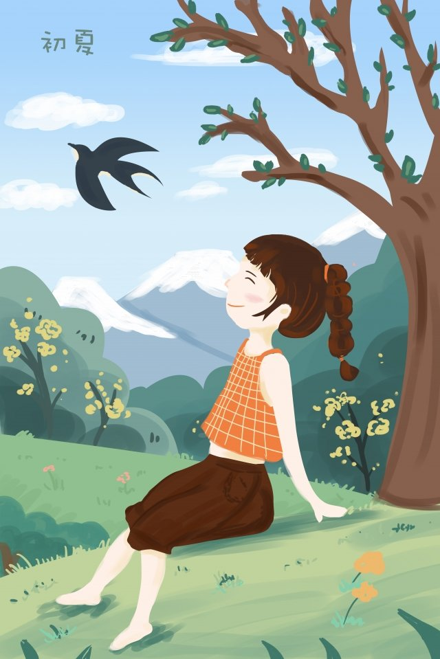 early summer little girl sitting on the grass landscape llustration image