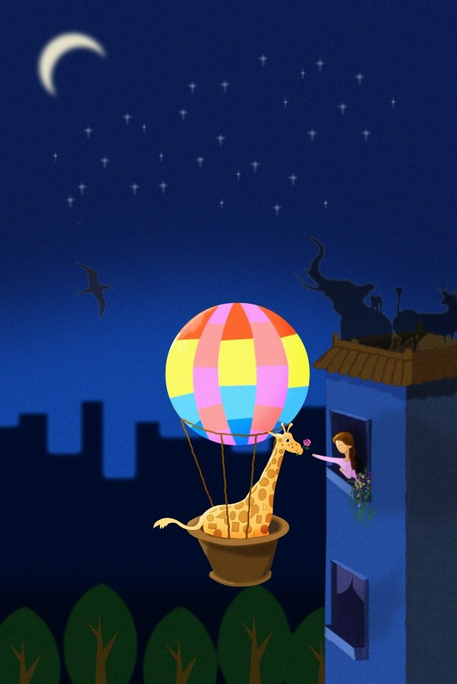 earth hour turn off the light the earth day african animals, Hot Air Balloon, Giraffe, H5 Background illustration image
