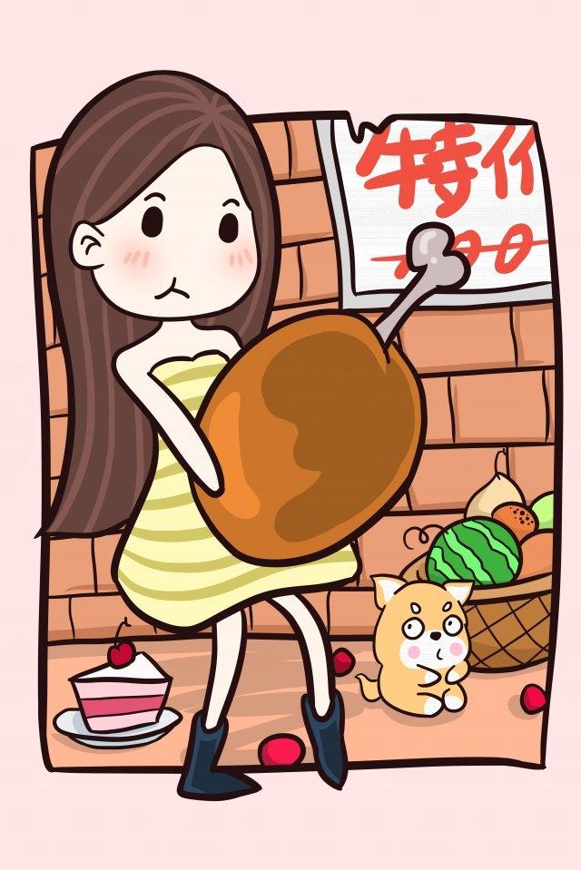 도시락을 먹는 소녀 소녀 할인 삽화 소재