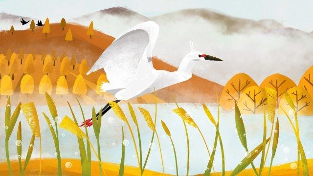 白鷺露飛んでいる鳥飛んでいるクレーン イラスト素材
