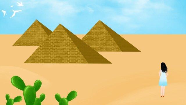 エジプトのピラミッドサボテン砂漠 イラストレーション画像
