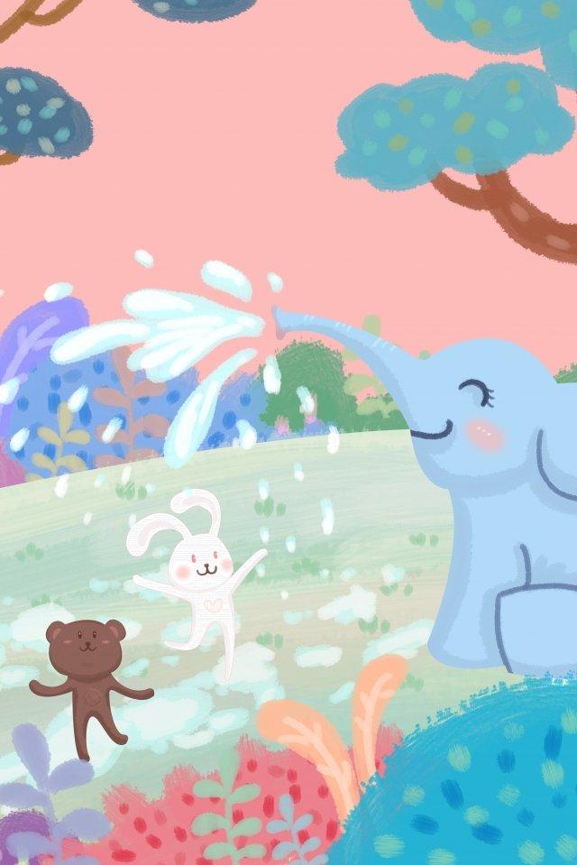 象の水スプレーうさぎ熊 イラストレーション画像