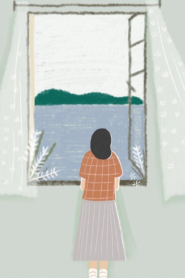 感情新鮮なシニアグレー10代の少女 イラストレーション画像
