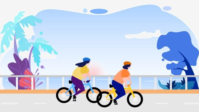 energy conservation environmental travel blue cool colors, Seaside, Riding, Simple illustration image
