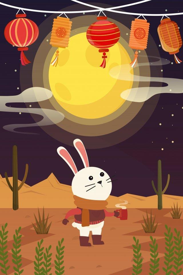 aproveitando a lua meados de outono reunião mid autumn festival Imagens de ilustração