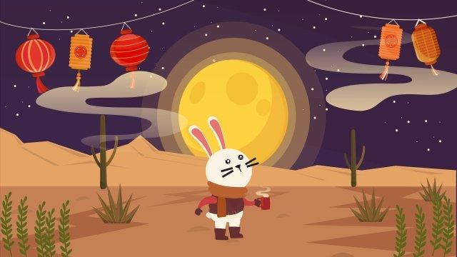 享受月亮中秋節重逢中秋節 插畫素材