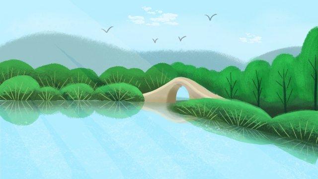 environmental protection fresh hand drawn illustration castle peak, Green Water, Wild Goose, Blue Sky illustration image