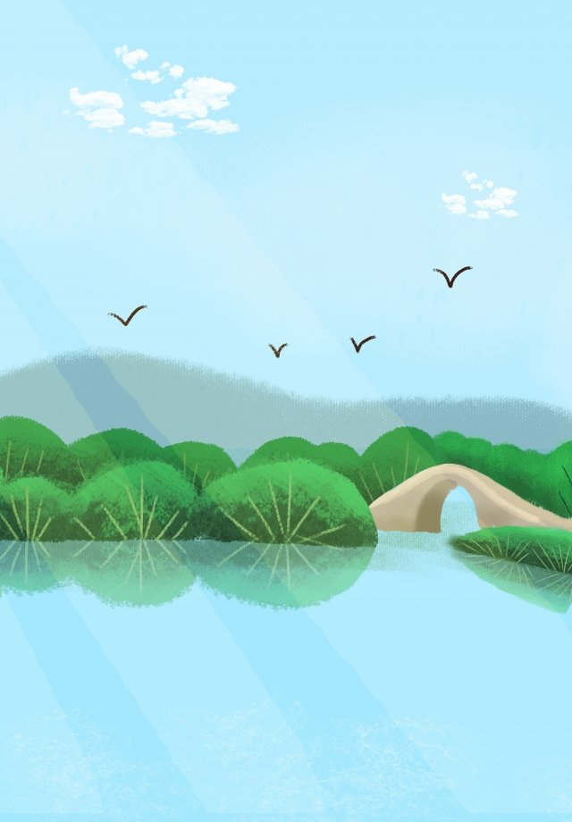 environmental protection fresh hand drawn illustration castle peak, Green Water, Wild Goose, Blue Sky illustration image