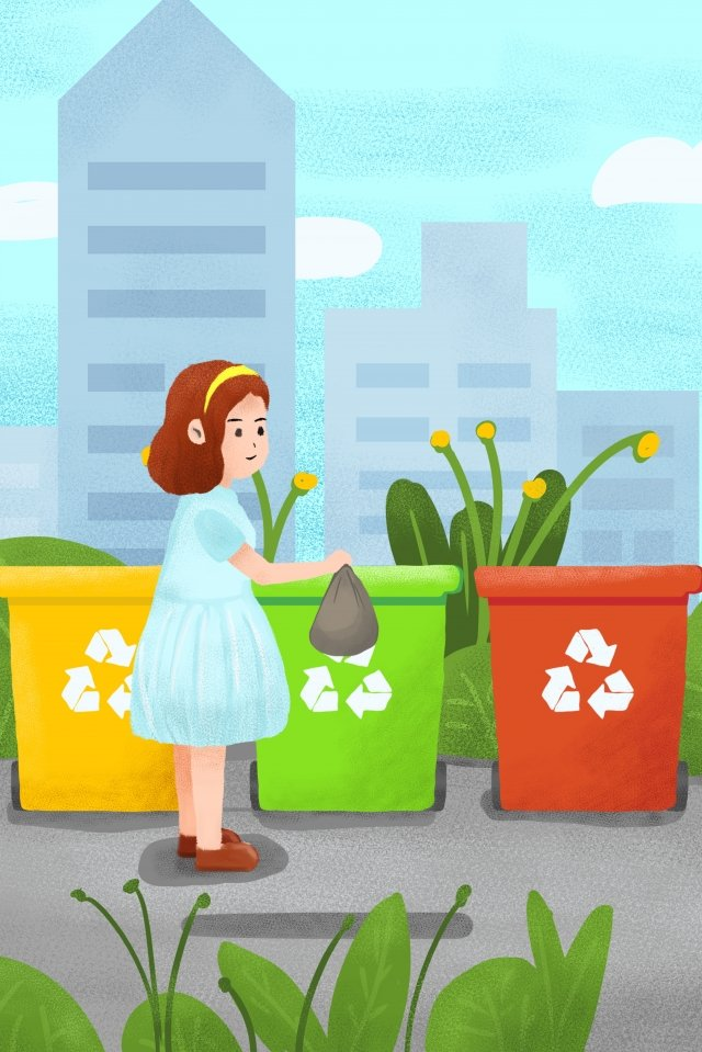 environmental protection garbage classification green plant, Girl, City, Environmental Protection illustration image