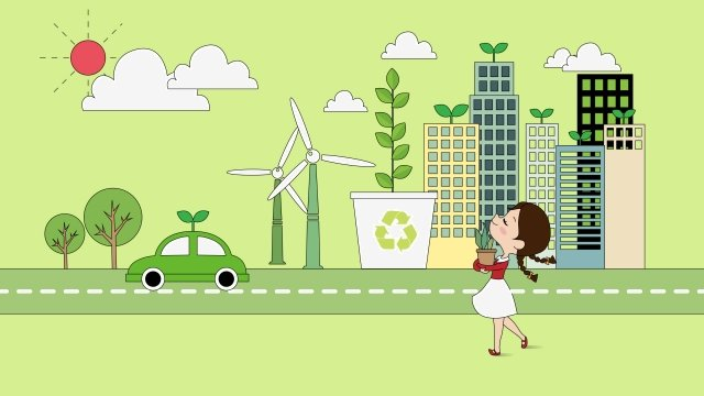 environmental protection health green low carbon, Life, City, Girl illustration image