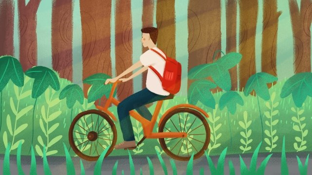 environmental protection out line hand drawn illustration shared bicycle, Ride A Bike, Forest, Grass illustration image