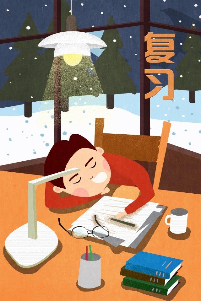 試験レビュー活力居眠り イラスト画像