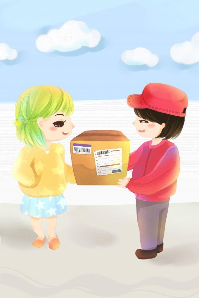 курьерская доставка мисс сестра девушка Ресурсы иллюстрации