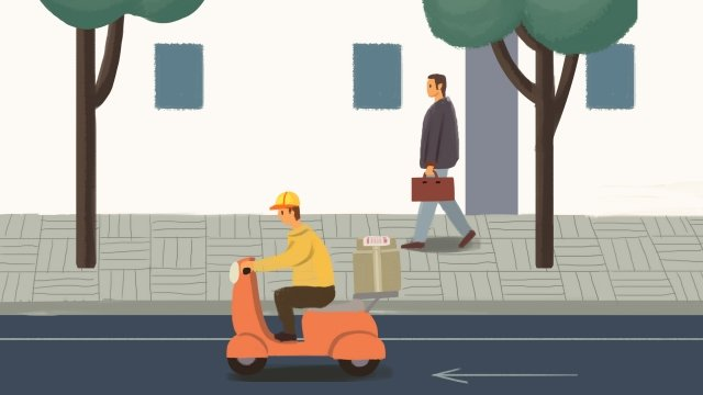 express delivery courier send delivery commodity, Package, Motorcycle, City illustration image