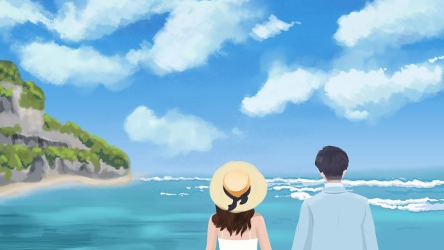 facing the sea couple appointment travel, Sea, Couple Back, Beach illustration image