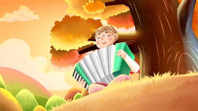 秋季手風琴樂器音樂 插畫素材 插畫圖片