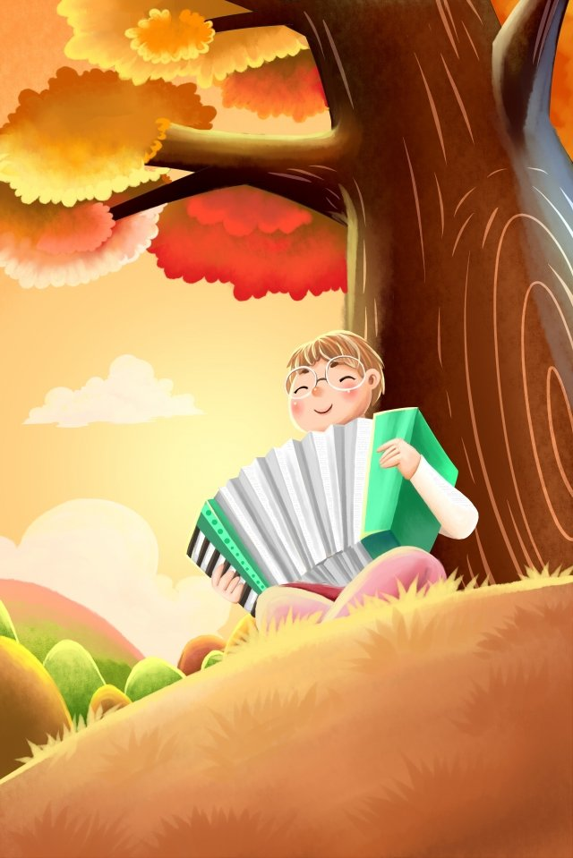 秋季手風琴樂器音樂 插畫素材