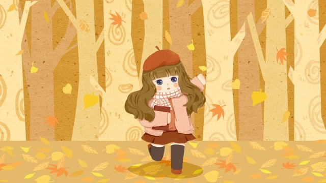 fall autumn autumn day fallen leaves, Forest, Warm Color, Girl illustration image