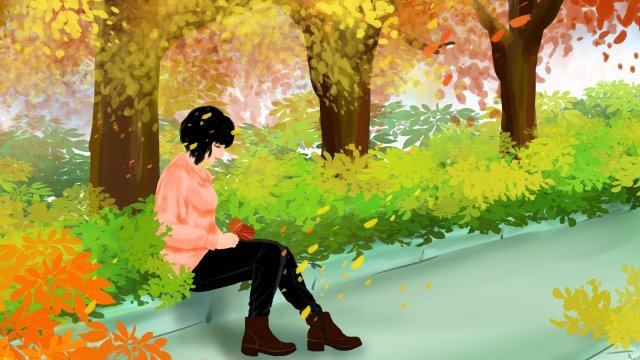 fall autumn autumn day girl llustration image