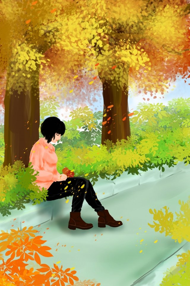 fall autumn autumn day girl illustration image