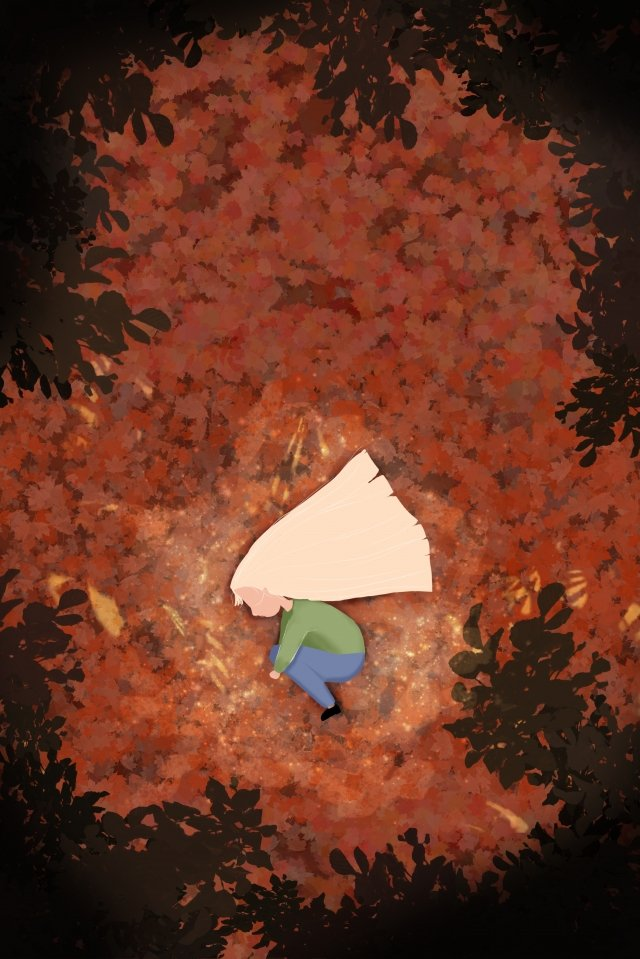 fall autumn autumn fallen leaves, Yellow Leaf, Girl, Child illustration image