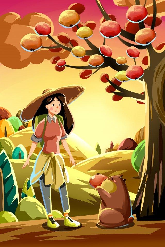 秋天秋天的柿子 插畫素材