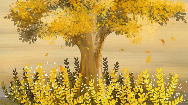 fall autumn color autumnal golden autumn, Hand Painted, Illustration, Autumn Illustration illustration image