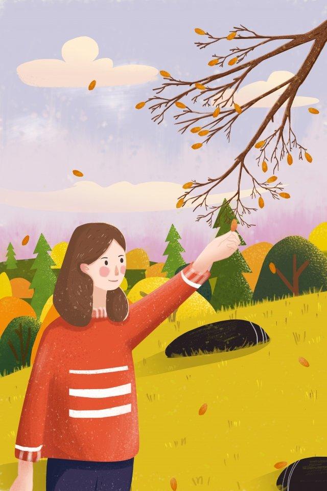 fall autumn day autumn girl llustration image