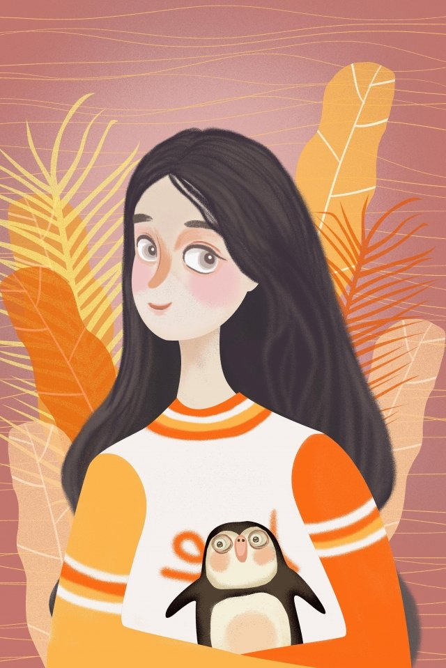 fall autumn day girl animal llustration image