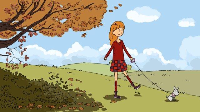 秋の日を歩いて犬を歩く イラスト素材 イラスト画像