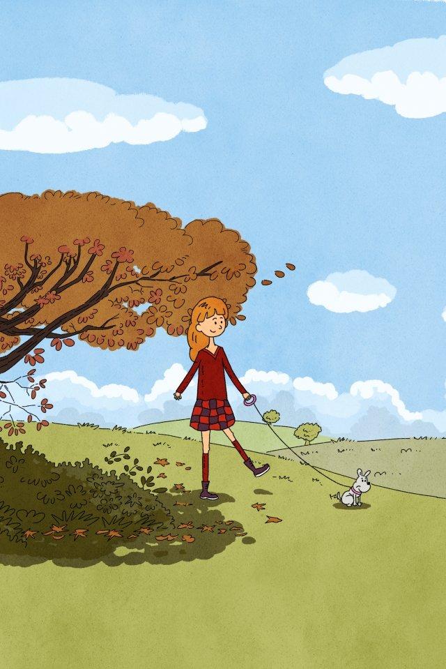秋の日を歩いて犬を歩く イラスト素材