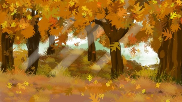 fall autumn fallen leaves trees, Leaves, Hand Painted, Illustration illustration image