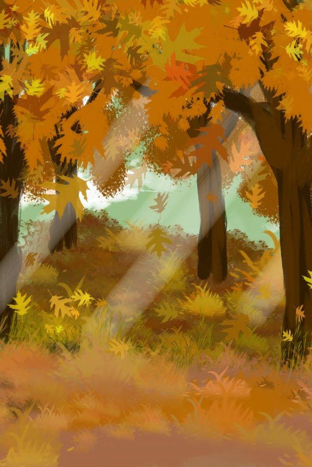 秋秋落ち葉木 イラスト素材