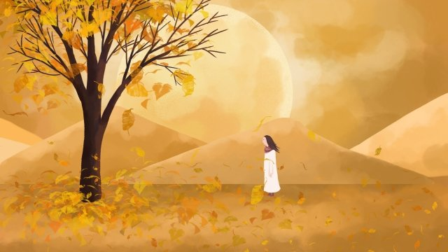 fall autumnal autumn autumn day, Golden Autumn, Girl, Fallen Leaves illustration image
