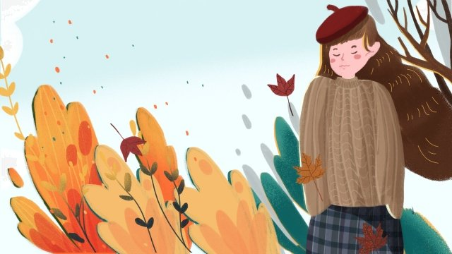 fall autumnal autumn autumn day, Girl, Fallen Leaves, Red Leaf illustration image