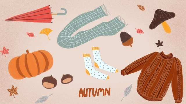 fall autumnal autumn autumn day, Sweater, Pumpkin, Scarf illustration image