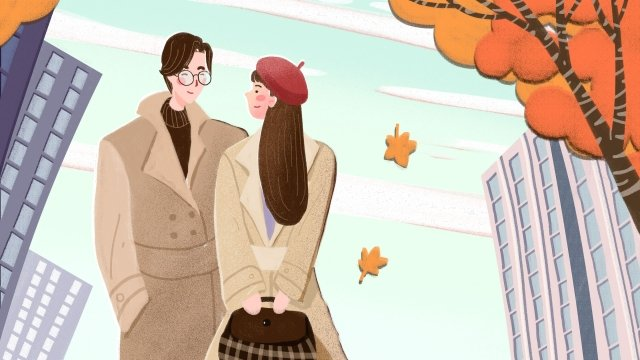 fall autumnal autumn autumn day, Couple, City, Fallen Leaves illustration image