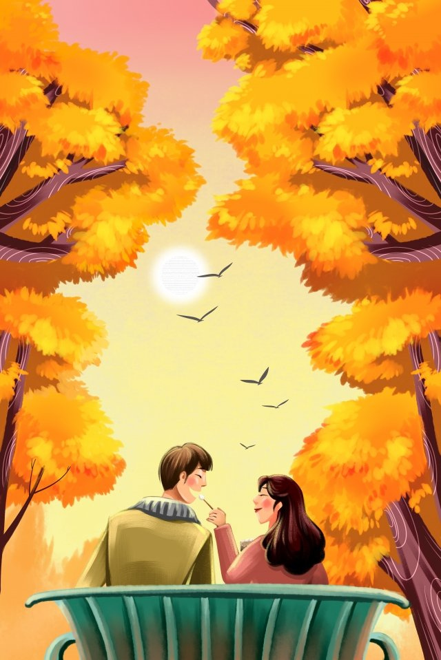 fall autumnal autumn autumn, Love, Golden, Big Tree illustration image