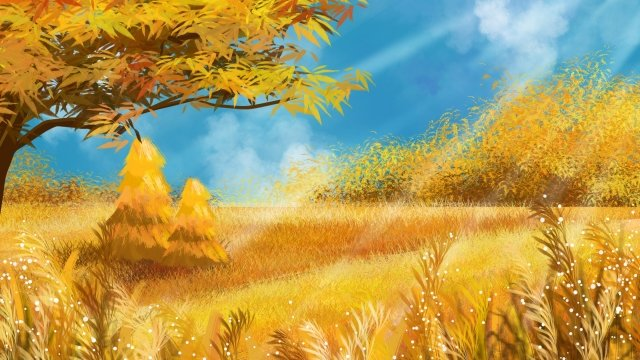 fall autumnal autumn landscape autumn color, Golden Autumn, Blue Sky, White Clouds illustration image