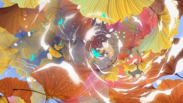 mùa thu mèo bạch quả mèo Hình minh họa