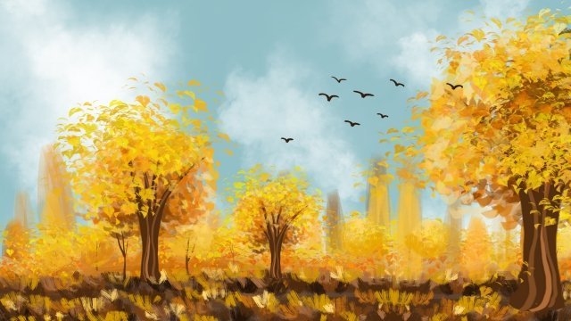 fall autumnal golden autumn autumn scenery, Landscape, Hand Painted, Illustration illustration image