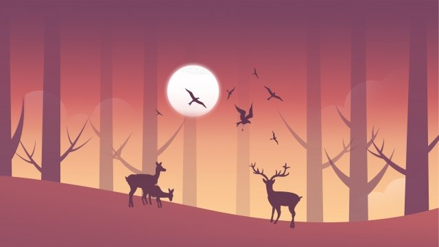 fall beginning of autumn dusk sunset glow, Gradient, Forest, Fawn illustration image