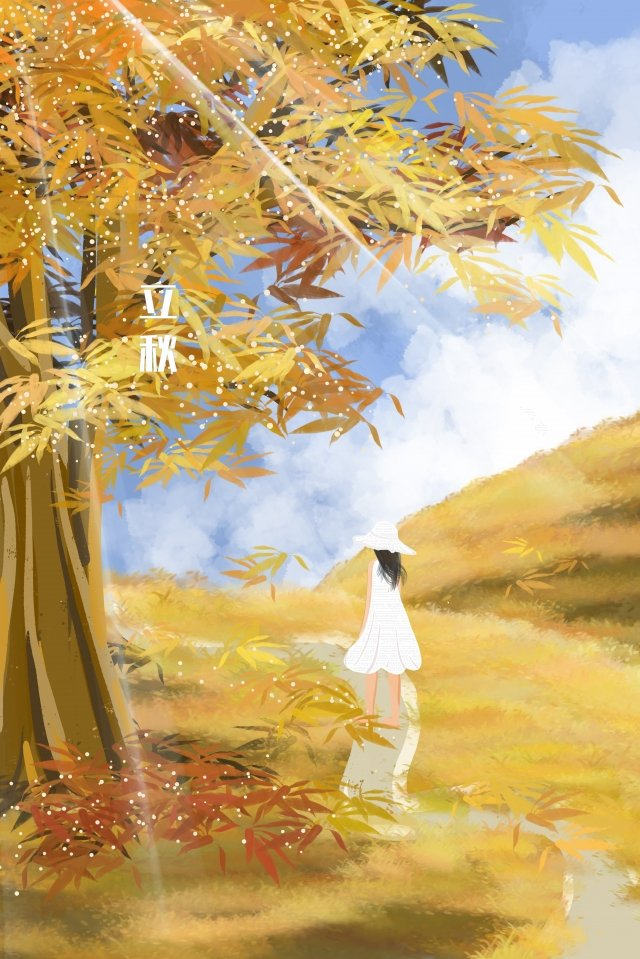 fall beginning of autumn girl the way llustration image