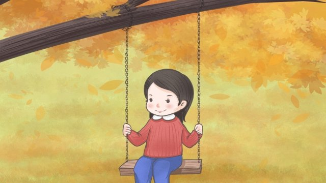 fall fallen leaves swing cartoon, Hand Painted, Drawn, Fall illustration image