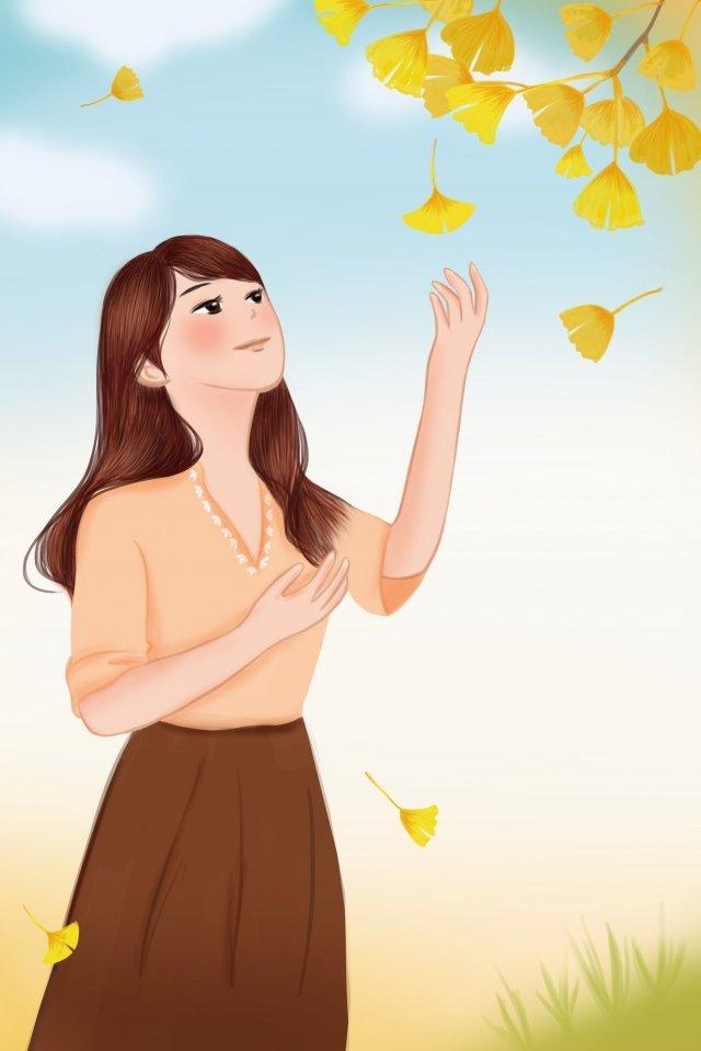 秋のイチョウ葉植物少女 イラスト素材