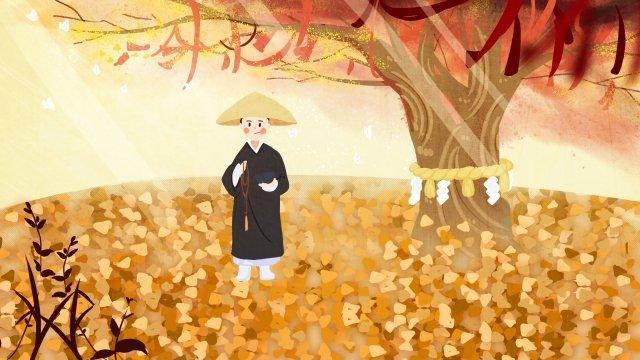 秋の初め秋秋の落ち葉カエデの葉  少女  黄 PNGおよびPSD illustration image