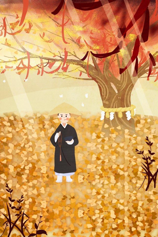 秋の初め秋秋の落ち葉カエデの葉  少女  黄 PNGおよびPSD イラスト画像