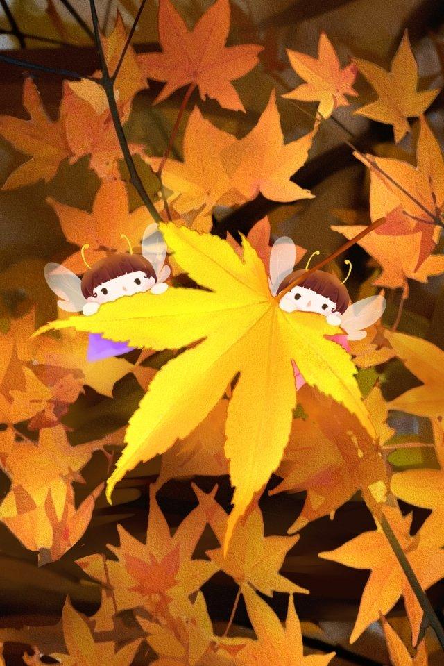 fall maple leaf elf maple llustration image illustration image