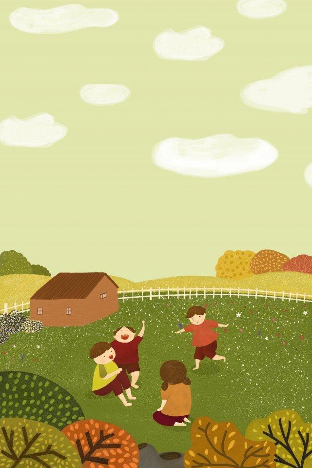 秋天農村秋天的孩子 插畫素材 插畫圖片